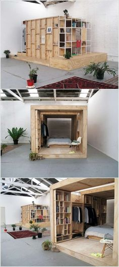 cool idea for a warehouse / loft - partition off rooms / cubicle like living pods