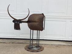 Welded Scrap Metal Longhorn Cow Weather Crafts, Longhorn Cow, Ice Tongs, Metal Art Projects, Metal Garden Art, Metal Sculptures, Cows, Welding, Wine Rack