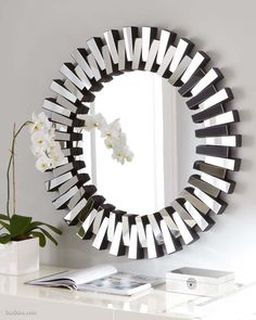 The Bronx is a large round, circle hanging mirror in starburst design. This hollywood mirror is perfect for your makeup table, hallway or entrance hall. Buy round mirrors online and save during our mirror sale. The perfect art deco mirror for your home. Silver Wall Mirror, Rustic Wall Mirrors, Round Wall Mirror, Mirror Art, Round Mirrors, Decorative Mirrors, Eclectic Mirrors, Mirror Collage, Bathroom