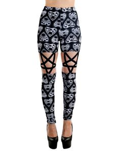 Must have Gothic Rock design leggings for punk rock girl!!! PENTAGRAM LEGGING - Ouija Planchettes By Rat Baby - features made of high quality, stretchy materials, and comfy high waist leggings. Cut ou