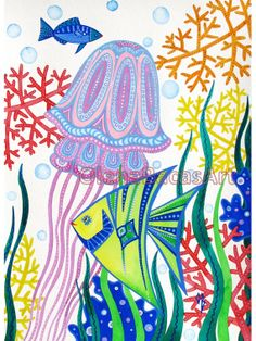 Fish Jellyfish Illustration Sea Creatures ORIGINAL Painting Baby Boy Nursery Room Decor SALE Kids  Wall Art