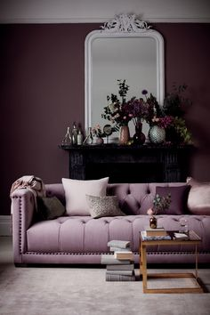 No Money? No problem! In this post, interior stylist Maxine Brady shares her luxe design ideas to give your home your luxe look for less % Purple Interior, Interior And Exterior, Dark Interiors, Colorful Interiors, Room Colors, House Colors, Sofa Design, Burgundy Room, Plum Walls
