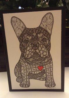 Zentangle Inspired French Bulldog Note Card, French Bulldog Print, Valentine's Day Card