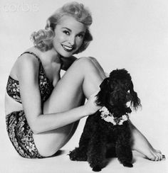 Janet Leigh and her poodle