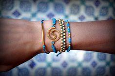 Cotton Cord Bracelets Set - Pura Vida Style Bracelet - Seed Bead, Macrame Bracelets - Turquoise and Gold