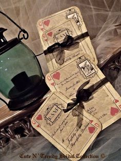 Alice In Wonderland wedding invitation playing card