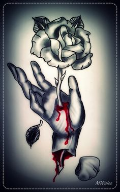 bleeding hand with rose tattoo flash by *oldSkullLovebyMW on deviantART