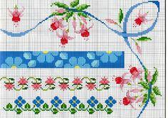 Ricamo e schemi a puntocroce gratuiti: schemi bordi con fiori a punto croce