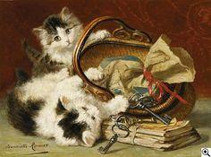 ¤ Henriette Ronner-Knip 1821 Amsterdam - 1909 Brüssel  Zwei spielende Kätzchen mit einem Bastkorb