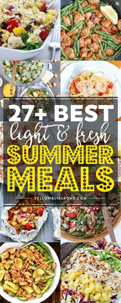 These family friendly recipes will have everyone excited about summer dinners, and they're perfect for dining al fresco, too! These family friendly recipes will have everyone excited about summer dinners, and they're perfect for dining al fresco, too! Light Summer Dinners, Easy Summer Meals, Healthy Summer Recipes, Summer Food, Light Meals For Dinner, Summer Meal Ideas, Light Dinner Ideas, Light And Easy Meals, Summer Entrees