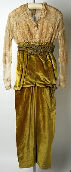 Afternoon dress. Lucile (British, 1863–1935). Date: 1913. Culture: British. Mediums: silk, metal. Front view. MMA Collections.