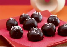 Caramel-Dark Chocolate Truffles with Fleur de Sel. (Found on bonappetit.com)