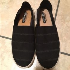 Black Sketchers Go Walk shoes Black Sketchers Go Walk shoes. Size 7. Very good condition. Only worn once or twice. No rips or tears. Great shoes. Very comfortable. Skechers Shoes