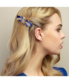 Vintage Barrette Butterfly Rhinestone Diamante - Blue - CA12IPFI8CP,Women's Accessories, Hair Accessories, Barrettes #Hair #gifts #Accessories #Women #Barrettes