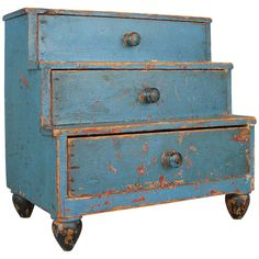 Early 19th Century Miniature Chest in Original Blue Painted Finish | From a unique collection of antique and modern commodes and chests of drawers at https://www.1stdibs.com/furniture/storage-case-pieces/commodes-chests-of-drawers/