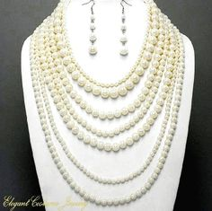 7 Tier Ivory Faux Pearl Necklace Set Elegant Costume Jewelry $22.99