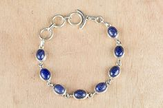 Amazon.com: Blue Stone Bracelet ,Natural Stone, Blue and Silver Bracelet, Vintage Jewelry, Lapis Lazuli Bracelet, Sterling Silver Bracelet, Lapis Silver Bracelet, Sterling Lapis Bracelet, Tennis: Handmade