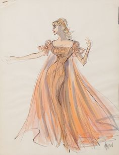 "Edith Head costume design for Anita Ekberg in ""War and Peace"" (1956). Gouache and crayon on illustration paper. 