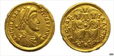 The gold solidus features Emperor Theodosius I who ruled from 379-395 AD -- Roman gold coin revealed in 'lucky' Norfolk treasure find