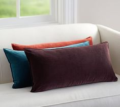 Washed Velvet Zip Lumbar Pillow Cover #potterybarn