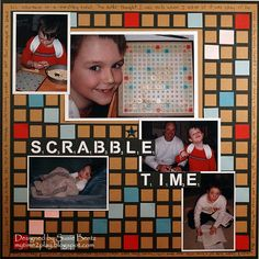 Scrabble layout by Susie Bentz with Want2Scrap Overlay
