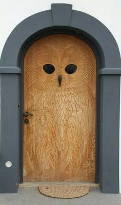 Owl carved door.