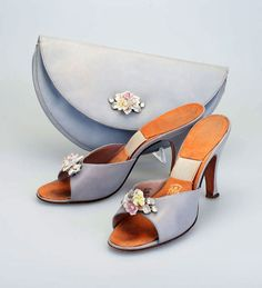 Rayne shoes and bag with porcelain flowers and diamantes. Springolator mules c1955.