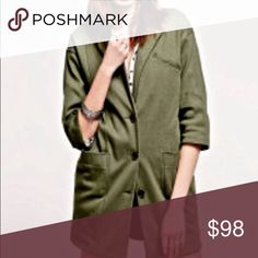 "FREE PEOPLE oversized jacket blazer NWOT Free People olive green oversized blazer jacket.  Women's size XS. Never worn. Still has extra button attached. Two front pockets, half sleeves.   Lighter colored fabric line near pocket- shown in last photo. May be a manufacturing defect or just the fabric. Not noticeable & does not effect overall quality!   Measurements: 19"" across bust, 31"" shoulder to bottom, 11"" armpit to sleeve.  No modeling. Open to reasonable offers! Bundle & save 10%! 💕 Free…"