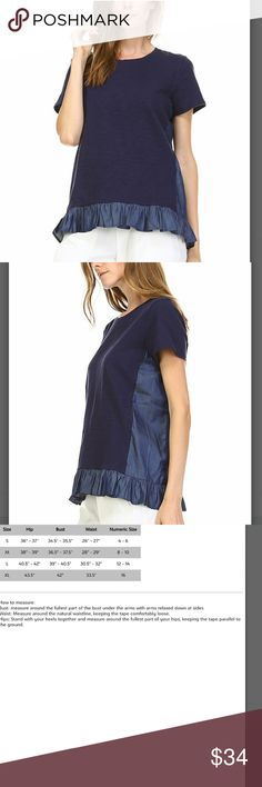 🔶️JUST IN🔶️(S-XL) Navy Ruffle Top Elegant and feminine. 100% cotton. 27 in long.  See pic 3 for size chart. Machine wash, hang to dry. Imported. (A140) Tops