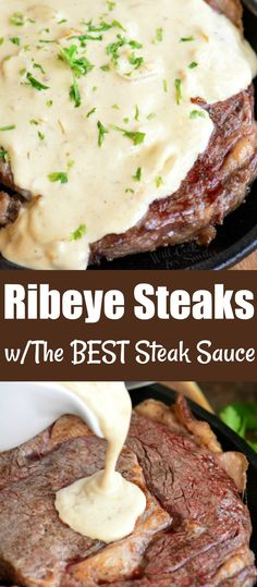 Your favorite steaks cooked just the way you like it and served with THE BEST Cream sauce! This creamy steak sauce is made with shallots garlic Dijon mustard blue cheese crumbles fresh grated Parmesan and heavy whipping cream. Creamy Steak Sauce, Steak Cream Sauce, Best Steak Sauce, Cheese Sauce For Steak, Steak Sauce Recipes, Steak With Blue Cheese, Cream Cheese Sauce, Beef Recipes, Garlic Sauce For Steak