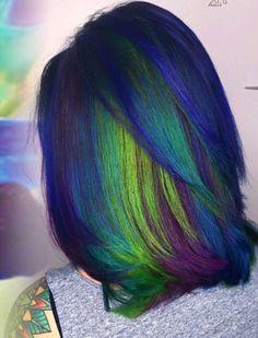 Green blue dyed hair color @nealmhair