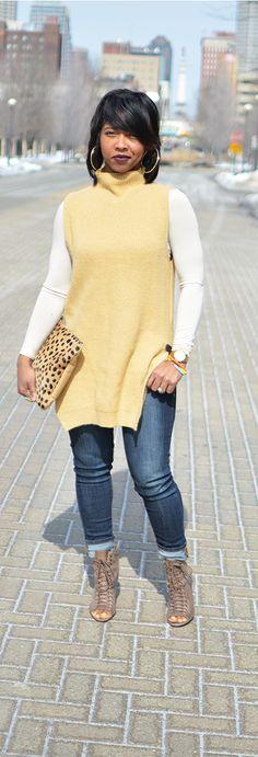 Sleeveless Sweater - Winter Oufit Idea- Denim