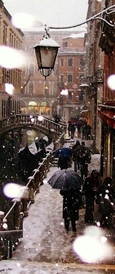 Snowy Venice, Italy
