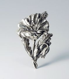 In #CherryOrchardAttic on #Etsy Vintage Art Nouveau Style Sterling Silver Repousse Flower Pin #ArtNouveauBrooch #ArtNouveauPin #ArtNouveau #ArtNouveaujewelry #vintagejewelry #Repousse #Repoussesilver #sterlingsilver #poppyflower #RepousseBrooch #RepoussePin #ArtNouveauFlower #ArtNouveauaddict #jewelryaddict #tattoodesignidea #flower #antique