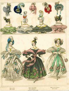 1830s fashion plate, hair, bonnets and turbans