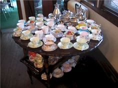 3-11-06 tea cart min by cal222, via Flickr. A variety of tea cups allows you to collect what you fancy at the moment.