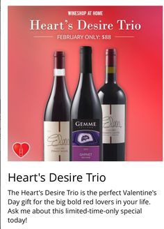 Order Now! Get it in time Valentine's Day!! www.wineshopathome.com/tiarahairston