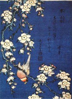Katsushika Hokusai, Weeping Cherry and Bullfinch. Woodblock print, c. 1834.