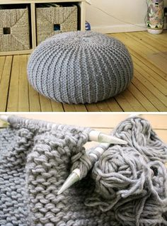 Knitted Pouf With Thinner Yarn | Click Pic for 26 DIY Living Room Decor on a Budget | DIY Living Room Decorating Ideas