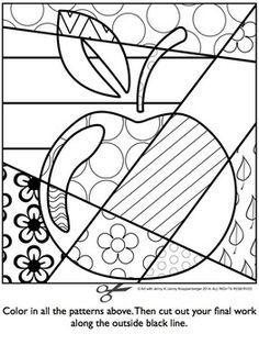 APPLE Pop Art Interactive Coloring Sheet - Basteln in der Grundschule Apple Coloring Pages, Colouring Pages, Coloring Sheets, Coloring Books, School Coloring Pages, Mandala Coloring, Free Coloring, Adult Coloring, Art Pop