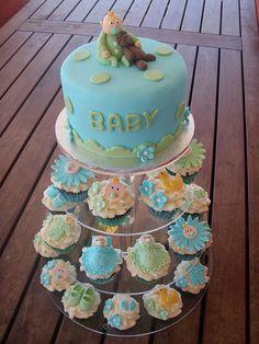 Mossy's Masterpiece - Baby boy baby shower cake/cupcakes by Mossy's Masterpiece cake/cupcake designs, via Flickr
