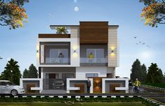 Building Elevation, House Elevation, Front Elevation, Modern House Facades, Modern Architecture House, Modern Buildings, House Front Design, Modern House Design, Glass Blocks Wall