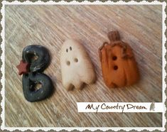 my country dream handmade buttons, primitive buttons, polymer clay