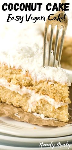 This is a DELICIOUS and EASY Vegan Coconut Cake recipe. Imagine a moist cake flavored with coconut and topped with a creamy, vanilla frosting and drizzled with coconut flakes! If you love creamy, sweet, flavorful cakes, this one is for you! Vegan Dessert Recipes, Easy Cake Recipes, Vegan Sweets, Snack Recipes, Vegetarian Snacks, Coconut Beach, Vegan Coconut Cake, Coconut Recipes Vegan, Moist Cakes