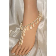 Real Sea Shells Beach Theme Barefoot Sandals Wedding Sandals Foot... ($70) ❤ liked on Polyvore