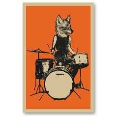 60s style FOX Drummer girl Rock Band 11 x 17 silkscreen Art Print Poster screenprinted by hand. Great for musicians or rock fans.