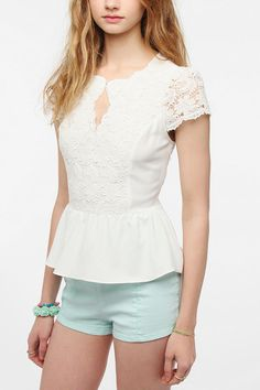 Pins And Needles Embroidered Cap Sleeve Blouse