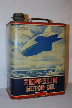 Zeppelin Motor Oil two gallon rectangle metal can