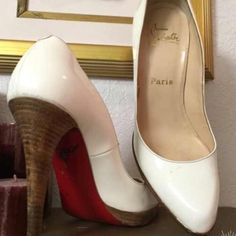"""Christian Louboutins  Until I obtain further information on this Recent Posh Purchase  item- Christian Louboutins Size 40. Off white patten leather round toe pumps. Wooden heel 4.5"""" platform .05"""" has great heel taps. No box. Beautiful  Christian Louboutin Shoes Heels"""