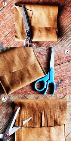 DIY: leather fringe purse. This is great! I bet you could use this as a base for a super cute purse or clutch.